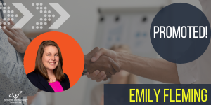 An image featuring employee Emily Fleming's name and headshot, with PROMOTED in the corner. A handshake is displayed as the background image.